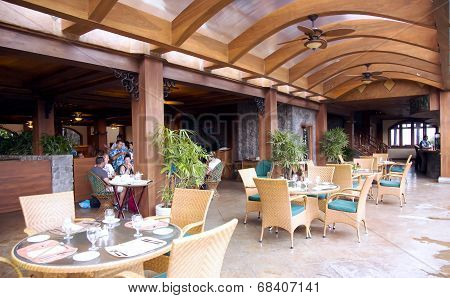 Restaurant on a open verandah in a modern luxury hotel
