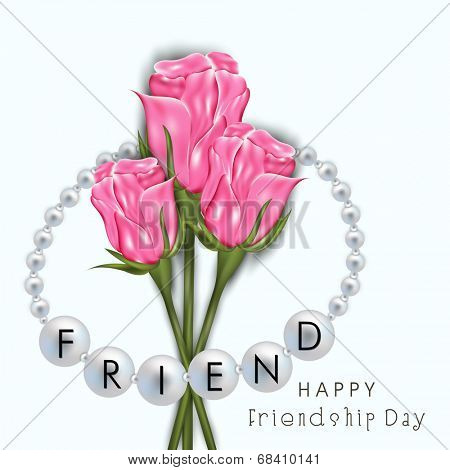 Shiny pink roses with silver pearl wristband on blue background for Happy Friendship Day celebrations.