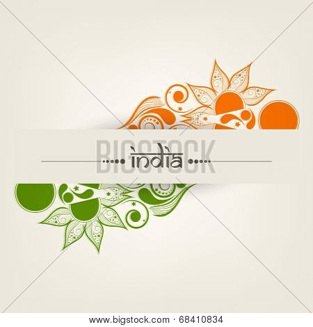 Beautiful floral design in national flag colors with text India on beige background for 15th of August, Indian Independence Day celebrations.