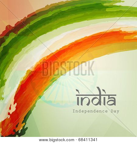 Stylish text India on Indian national flag colors background for 15th of August, Indian Independence Day celebrations.