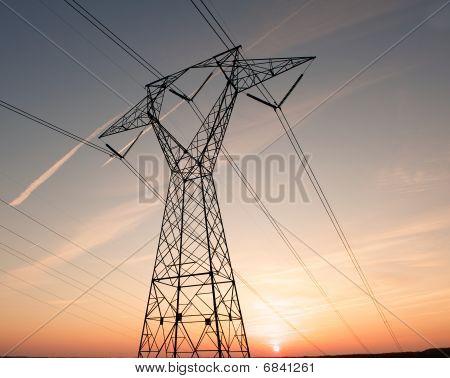 Electric pylon during sunset.