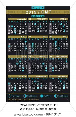 Vector Calendar 2015 With Phases Of The Moon/ Gmt