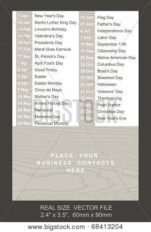 Pocket Calendar With Holidays List
