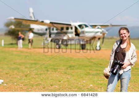 Woman In African Airport
