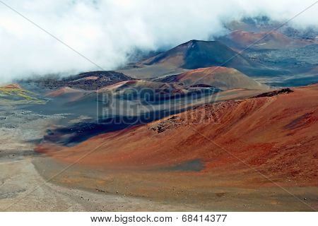 Haleakala Crater With Trails In Haleakala National Park On Maui Island Hawaii
