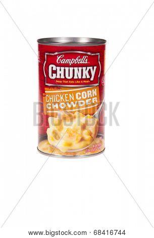 HAYWARD, CA - July 15, 2014: 18.8 oz can of Campbells Chunky Chicken Corn Chowder