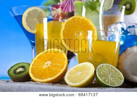 Cocktails, alcohol drinks with fruits