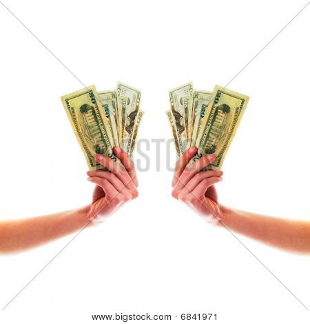 Symmetric Hands Holding Cash