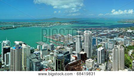 Auckland City & Harbour Landscape Aerial Panaorama