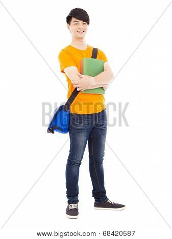 Young Student Holding Book And Slanting Knapsack