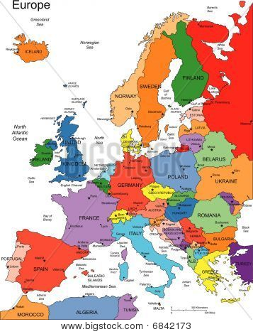 Europe with Editable Countries, Names