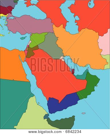 Middle East with Editable Countries