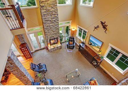 Luxury House Interior. Panoramic View