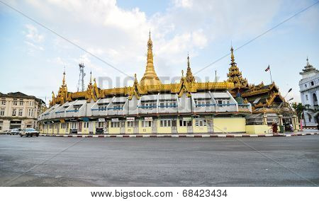 Yangon, Myanmar - October 12, 2013: Traffic In Downtown Around Sule Pagoda In Yangon
