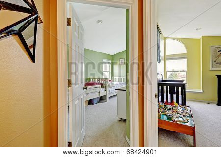 Happy Kids Rooms In Bright Green And Yellow Colors