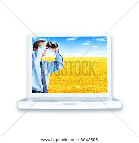 Laptop en zakenman