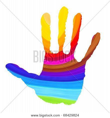 Bright Color Handprint On White