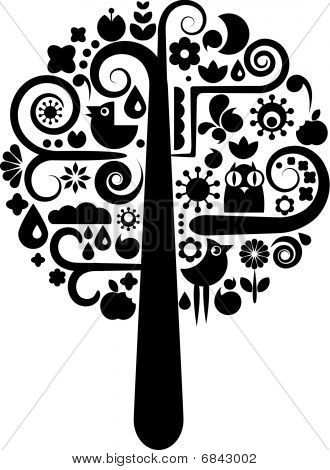 Black And White Tree With Ecological Icons