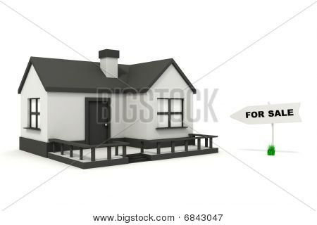 3d Cartoon House For Sale Isolated On White Stock Photo