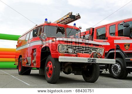 Vintage Ford Fire Truck In A Show