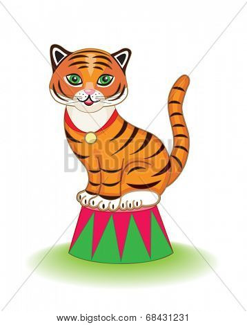 cute circus tiger (vector illustration for children's books)