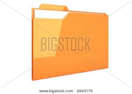 3d orange dossier isolated on white background