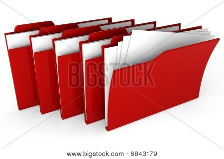 3d red dossiers isolated on white background