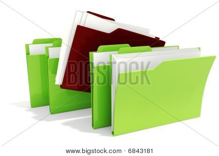 3d dossiers in two colors, green and red