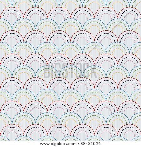 Traditional Japanese Embroidery Ornament with colorful fish Scales. Vector seamless pattern.