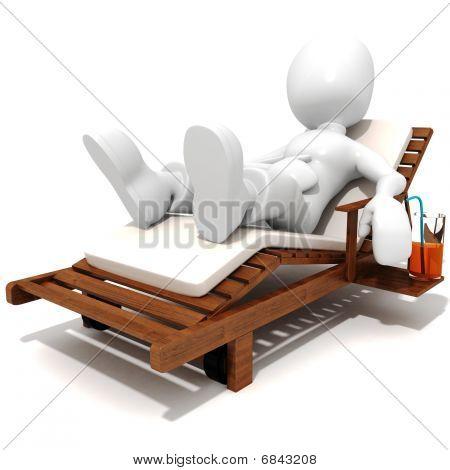 3d man relaxing, having a good time