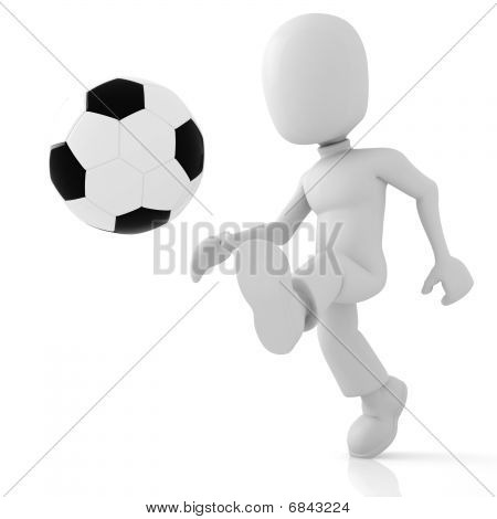 3d man soccer in the middle of action