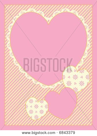 Vector With Victorian Eyelet Trimmed Hearts Copy space on striped background