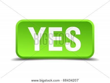 Yes Green 3D Realistic Square Isolated Button
