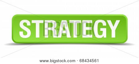 Strategy Green 3D Realistic Square Isolated Button