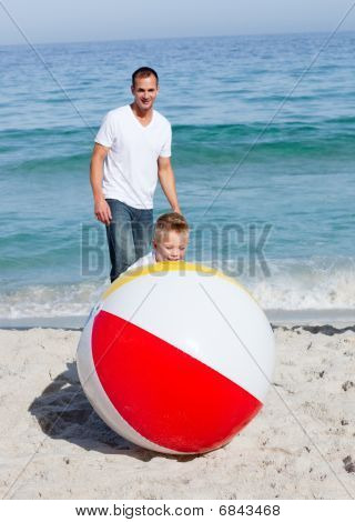 Animated Father And His Son Playing With A Ball