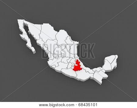Map of Puebla. Mexico. 3d