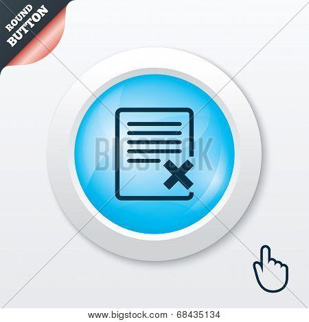 Delete file sign icon. Remove document symbol.