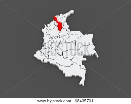 Map of Bolivar. Colombia. 3d