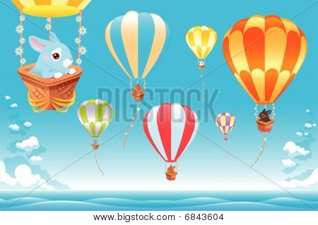 Hot air balloons on the sea with bunny.