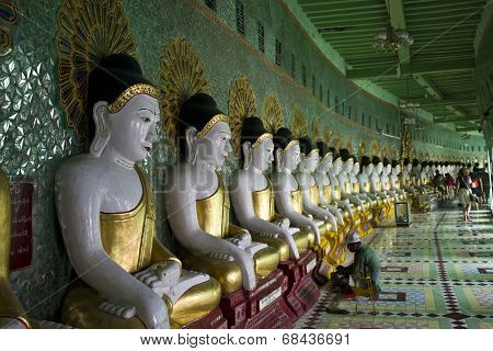 U Min Thonze Buddhist Temple On Sagaing Hill.