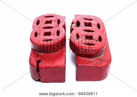 Red Cast Lot Wood Isolated On White Background