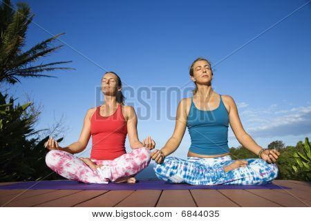 Young Women In Lotus Position