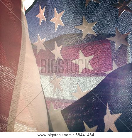 Closeup of stars and stripes of American flag