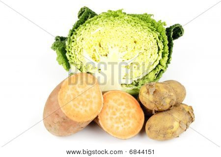 Half A Cabbage With Sweet Potato And Potatoes