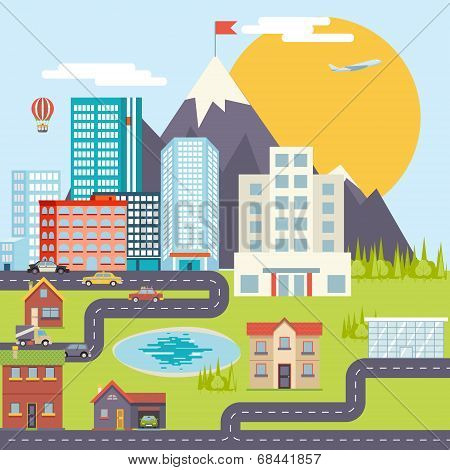 Urban Landscape City Real Estate Mountain Forest Cars Road Modern Flat Design Icon Template Vector I