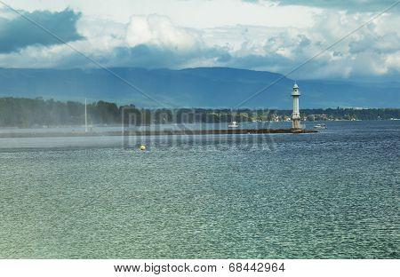 Beacon on the lake Leman in Geneva Switzerland