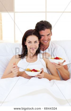 Affectionate Couple Having Breakfast