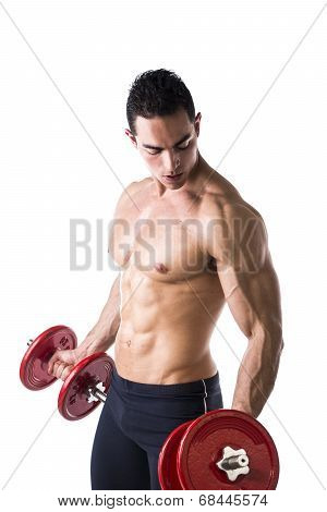 Muscular Sexy Shirtless Young Man Exercising Biceps With Dumbbells