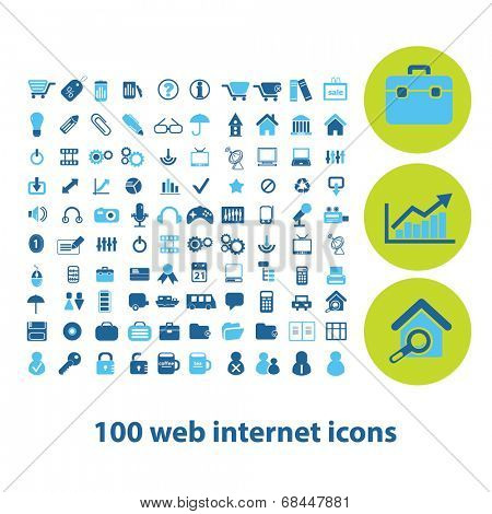 100 web internet icons, signs, symbols set, vector