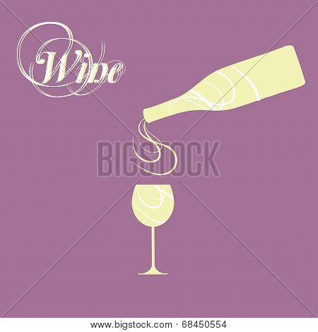 vector wine bottle with wine glass